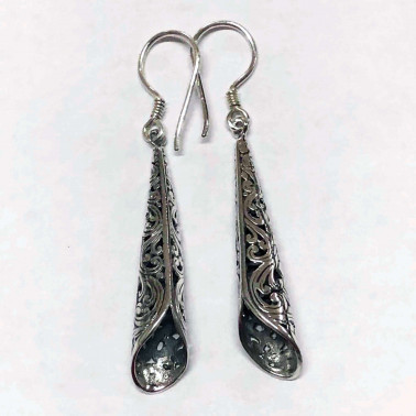 ER 14175-(UNIQUE 925 BALI SILVER FILIGREE CONE SHAPE EARRINGS)